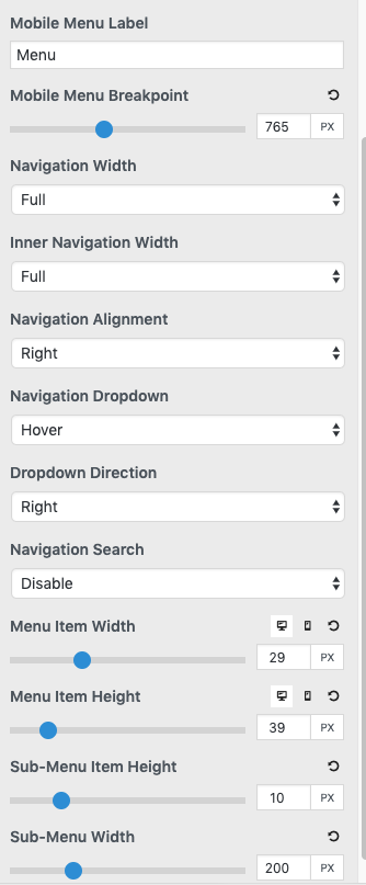 screenshot of primary navigation features
